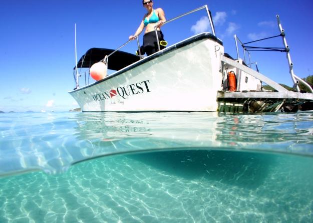 Getting ready to dive with Maho Bay Watersports, Maho Bay, St. John, USVI.