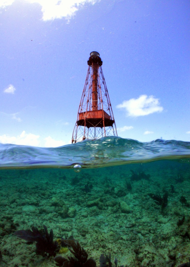 Sombrero Key Reef Light in the Florida Keys National Marine Sanctuary.